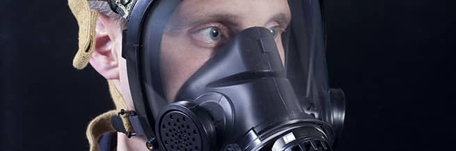 A person with a respirator on in respirator fit testing