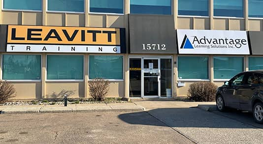 The edmonton branch store front of Advantage Learning Solutions who is partnered with Leavitt Training