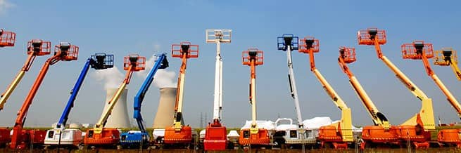 A row of mobile elevating work platforms