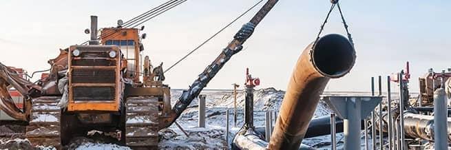 A pipeline construction site