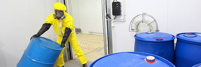 A worker in respiratory protective equipment